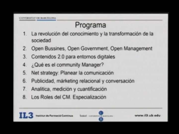 Postgrado en Community Manager & Social Media. IL3
